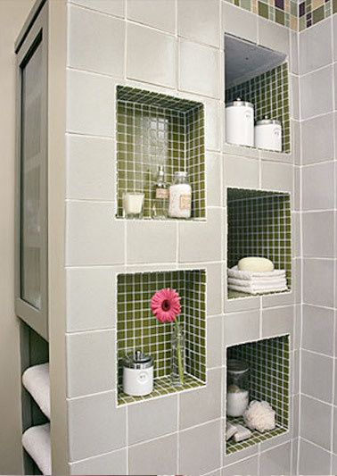Recessed shelves nooks and built ins on pinterest for Bathroom built in shelving ideas