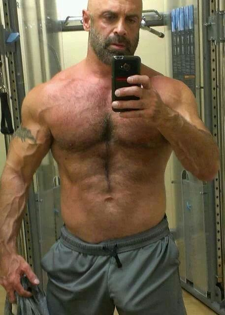 Hairy Muscle Daddy. Men. Scruff. Bulge. Woof!