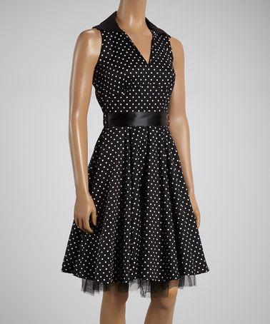 Black & White Pin Dot Shirt Dress - Women by HEARTS & ROSES LONDON #zulily #zulilyfinds