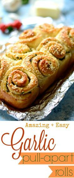 Garlic Pull apart rolls - filled with garlic, cilantro butter and baked to perfection! A crispy, buttery crust and a soft, pillow-like interior. And you cannot go wrong with these!