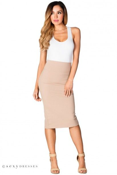 Taupe Pencil Skirt