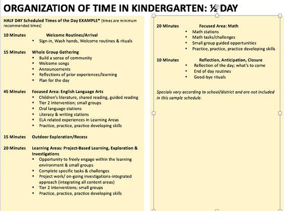 pptSlide, sample Half Day Kindergarten Schedule kindergarten - example project schedule