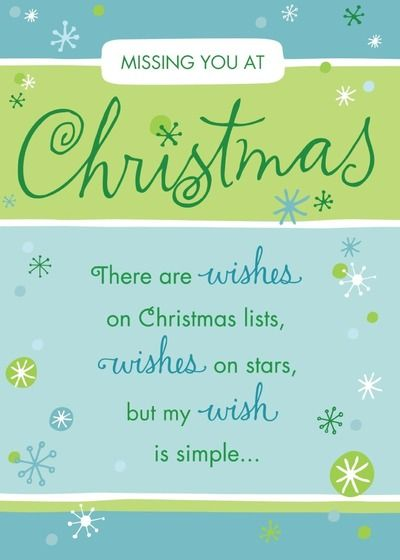 Simple Wish List - Christmas Greeting Cards in Teal | Hallmark Personalized Christmas cards from Treat.com