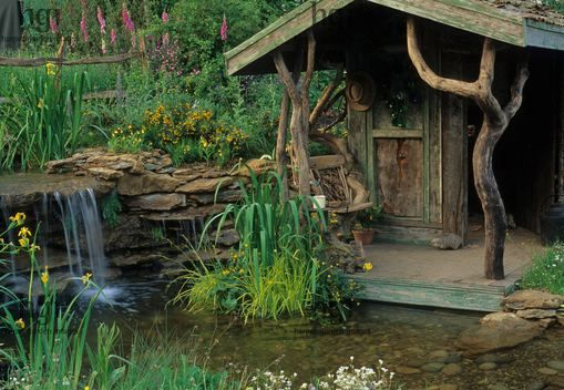 Garden building beside shallow wildlife pond fed by small waterfall rustic shed rhs chelsea - Build pond wildlife haven ...