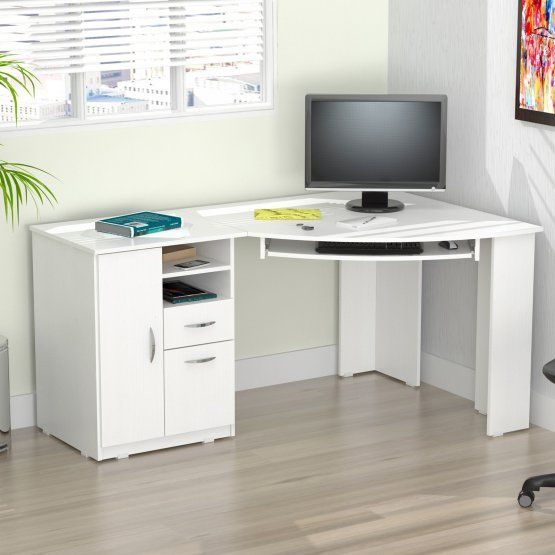 Inval L Shaped Curved Corner Work Center In 2020 White Corner Desk Corner Computer Desk White Corner Computer Desk