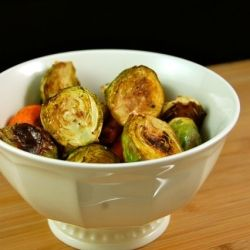 Balsamic Roasted Carrots and Brussels Sprouts.