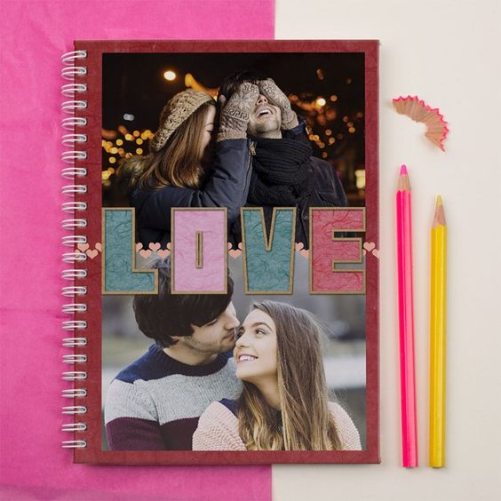Featuring 2 of your favourite photos on the front! | Photo Upload Notebook - LOVE Letters | GettingPersonal.co.uk