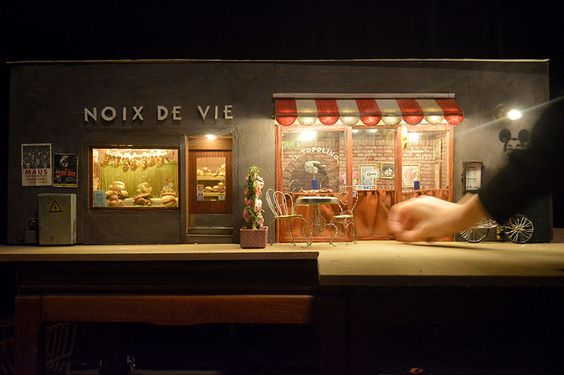 miniature mouse café and nut shop pops-up on a street corner in malmö