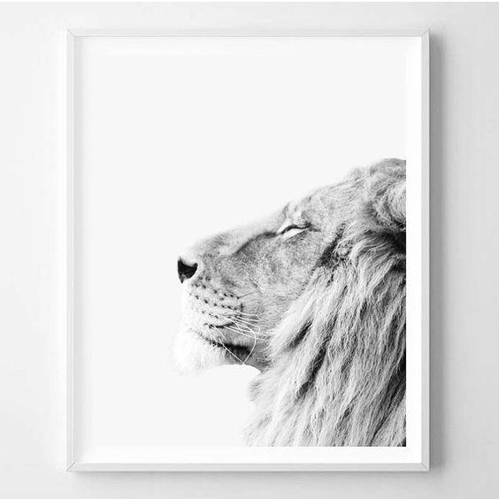 Lion print Animal Minimalist Minimal Scandinavian by WallArt2Decor