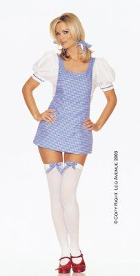 Sweet Dorothy Apron Dress Costume from adult clothing store Passion Shop, in the Lingerie, Sexy Costumes section, by by Leg Avenue. 4 piece Dorothy apron dress costume includes dress, stockings, and hair bows.