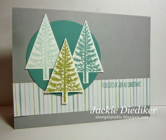 Festival of Trees! Looking for a fun and simple Christmas card? Here it is! Look no further. The Festival of Trees Bundle is fabulous! #stampinup #christmas #holiday