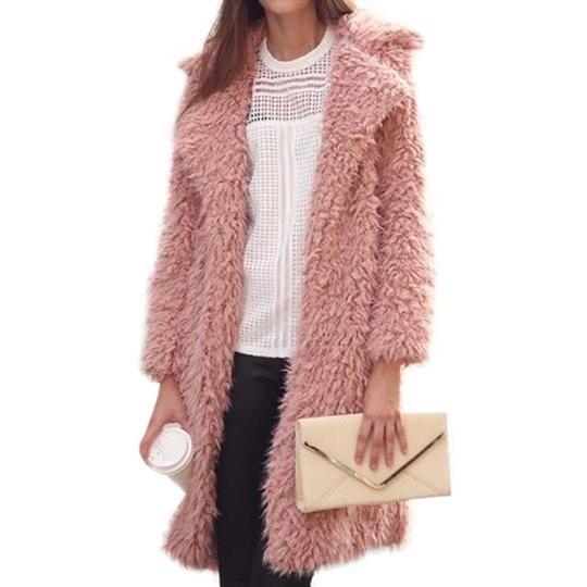 Womens Fur Coat Lapel Collar Mid Long Jacket Loose Lapel Overcoat Outwear 01