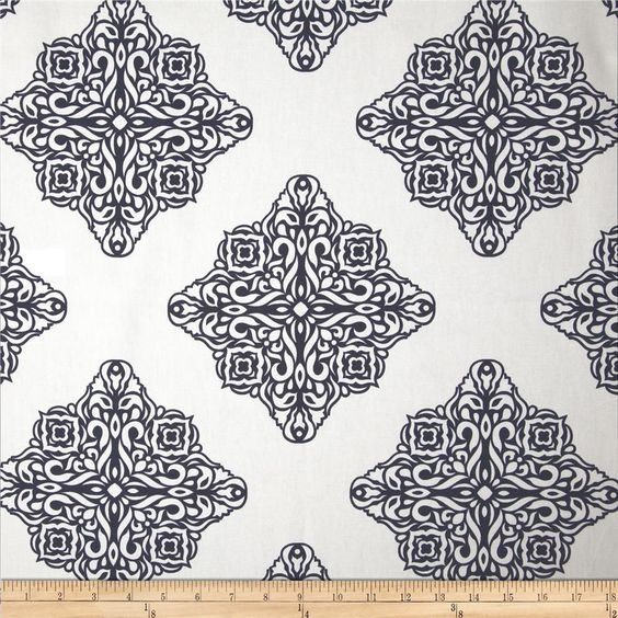 Esperanza Medallion White/Navy from @fabricdotcom Screen printed on (approx. 6.5 ounce) cotton duck, this versatile medium weight fabric is perfect for window accents (draperies, valances, curtains and swags), accent pillows, bed skirts, duvet covers, slipcovers, upholstery and other home decor accents. Create handbags, tote bags, aprons and more. Colors include navy and white.