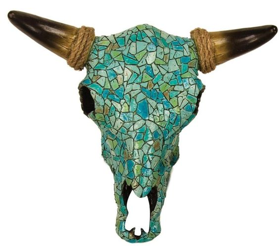 This mosaic Steer Skull Wall Hanging is decorated with mosaic tiles of turquoise, beige and ivory. This scull can also be displayed on a table top.