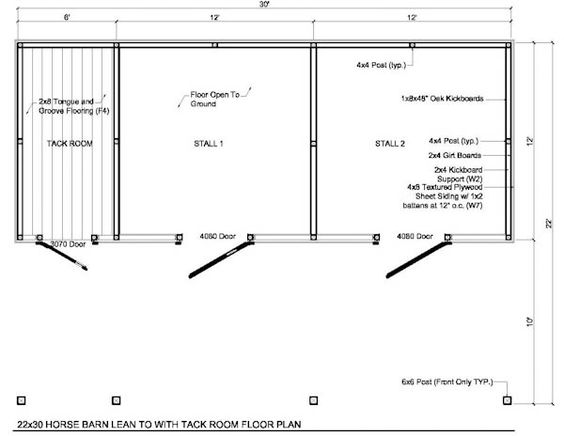 2 horse barn with feed room cheap plans 22x30 2 stall for 2 stall barn plans