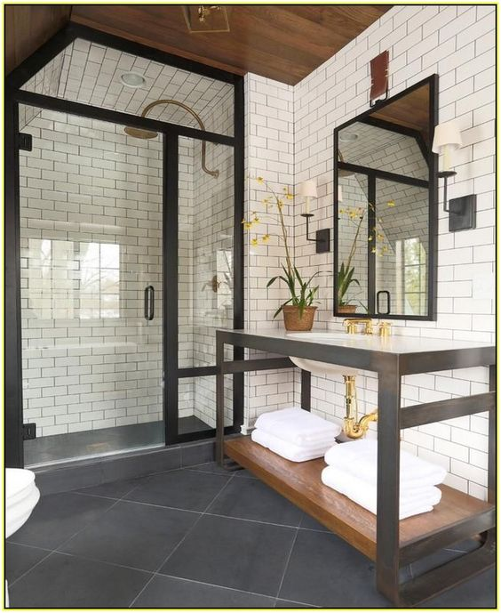 Black Brick Tiles Kitchen: White Tile, Dark Grout Wall Tile In Kitchens With Gold
