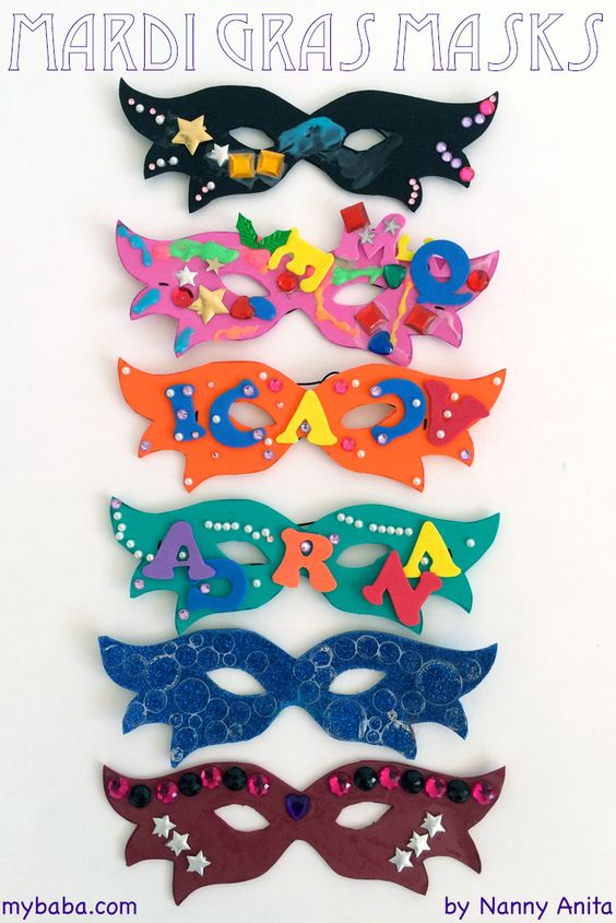 Make some fun and colourful masks to celebrate Mardi Gras with.  A craft for kids.