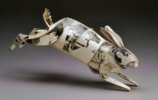 copper rod, paper and thread sculptural animals are by artist Anne Lemanski