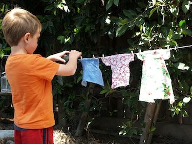 Making, washing and hanging clothes to dry