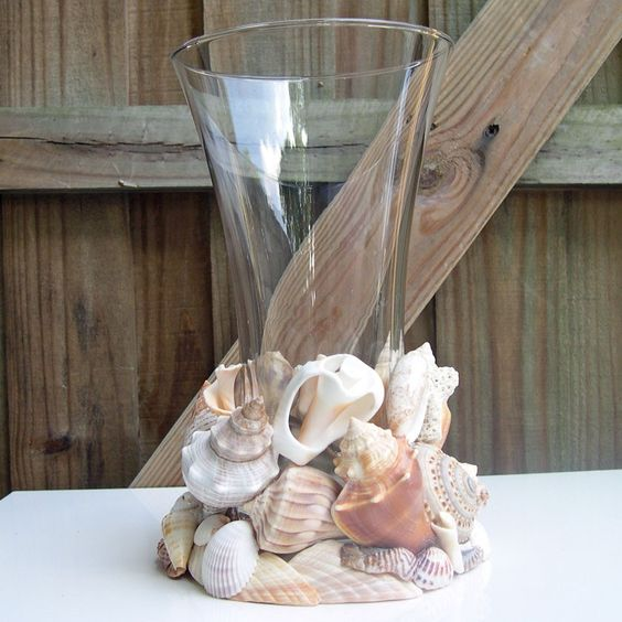 Large seashell vase or candleholder embellished with for Big seashell crafts