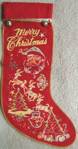 Check out Vintage MERRY CHRISTMAS FELT STOCKING with METAL BELLS Santa Claus and Reindeer on @eBay http://r.ebay.com/LiYoLY