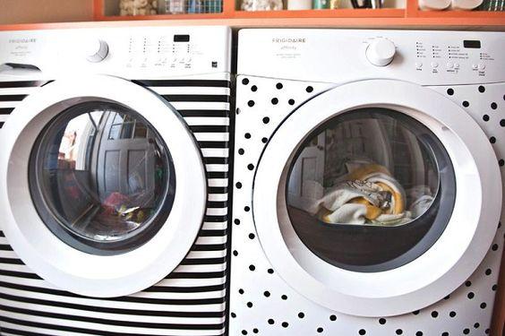 ideia simples e charmosa para incrementar a lavanderia.  Personalizando a máquina de lavar- faça você mesmo: