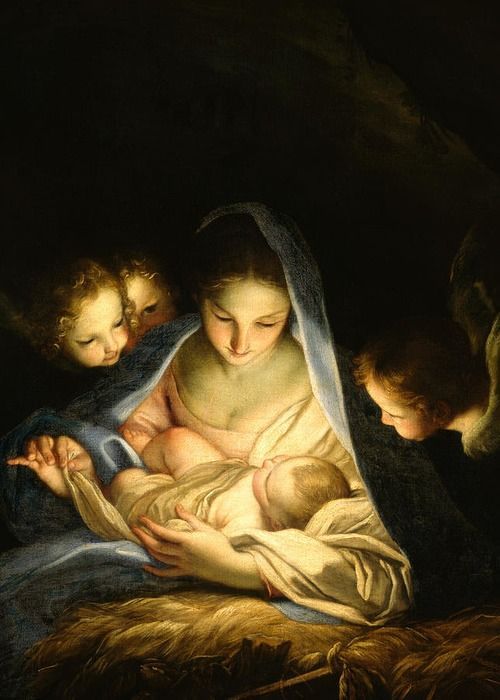 Virgin And Child Greeting Card featuring the painting Holy Night by Carlo Maratta