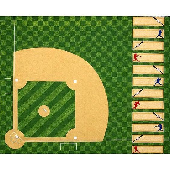 "Robert Kaufman Sports Life 3 Evergreen Baseball Diamond Panel 35"" x 44"""