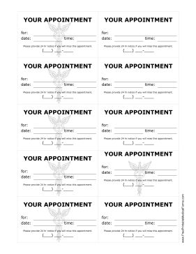 These doctor's appointment treatment reminder cards