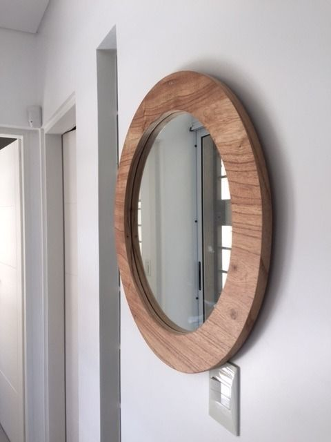 Espejo Redondo Circular Madera Estilo Escandinavo Espejos