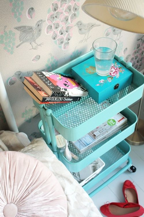 From ikea- cute organizational rack instead of an night stand!! http://www.ikea.com/us/en/catalog/products/30216536/