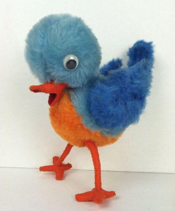 Vintage Bluebird Plush Toy Google Eyes Orange Breast Beak Wire Legs Antique Blue