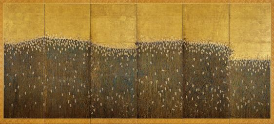 Barley Field Early 17th Century Unknown Artist Japanese Folding Screen Ink Color And Silver On Gilded Pape Japanese Painting Japanese Screen Japanese Art