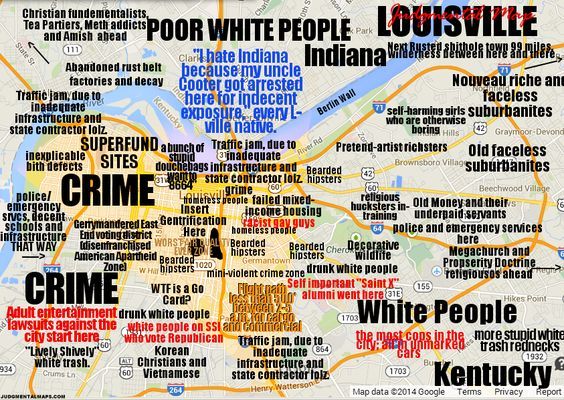 A judgmental map of Louisville KY – Tourist Attractions Map In Louisville Ky