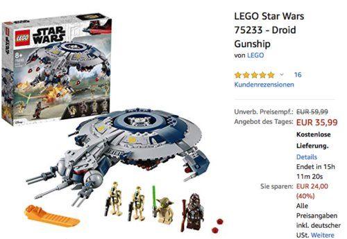 Lego Star Wars 75233 Droid Gunship 389 Teile Lego Star Wars Lego Star Wars