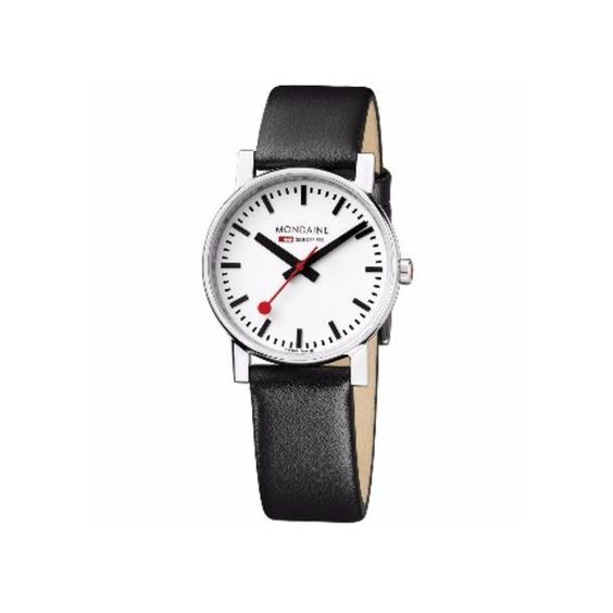Mondaine Evo (35mm) - White/Black ($200) ❤ liked on Polyvore featuring jewelry, watches, chunky watches, stainless steel jewellery, black white jewelry, stainless steel watches and chunk jewelry
