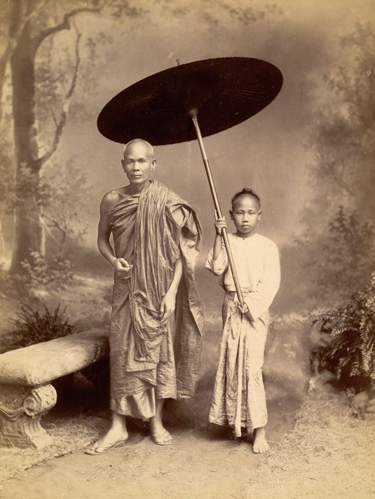 otograph of a Burmese Buddhist monk and attendant, taken by Philip Adolphe Klier in the