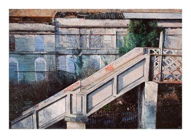 """Simon Hopkinson; Painting, """"Dangerous Building one"""""""
