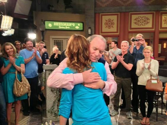 Farewell to Alison Sweeney, (here hugging Ken Corday), cast and crew standing by. Christy Clarke in the background saying goodbye to her on-screen sister. Shared through Deirdre Hall's Fb page. #DaysofourLives #DOOL