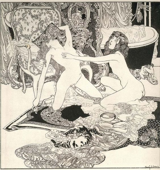 Franz von Bayros (28 May 1866 – 3 April 1924) was an Austrian commercial artist, illustrator, and painter best known for his controversial Tales at the Dressing Table portfolio. Von Bayros belonged to the Decadent movement in art, often relying on erotic themes and phantasmagoric imagery.  http://en.wikipedia.org/wiki/Franz_von_Bayros
