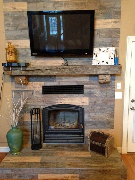 Wood look tile stones and alternative to on pinterest for Alternative fireplaces