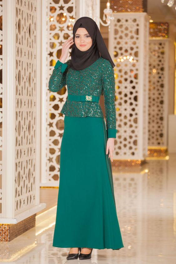 NEVA STYLE - Evening Dress - Patterned Green Hijab Dress -2201Y