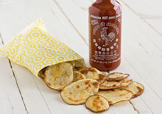 Baked Sriracha Potato Chips