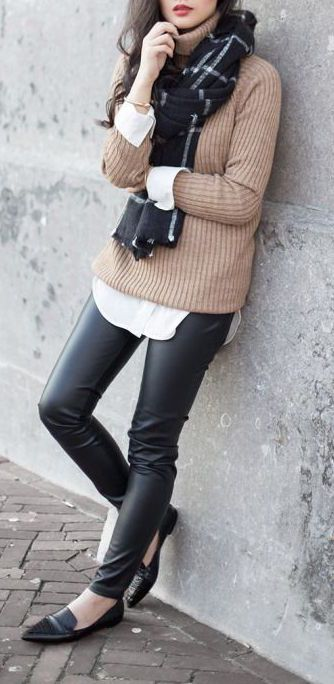 winter outfit, black check scarf, black leather jeans, black loafers, tan sweater, white button up
