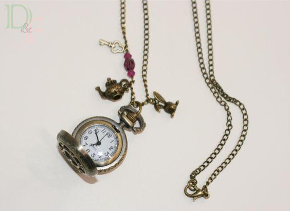 collier sautoir montre gousset alice au pays des merveilles alice in wonderland pocket watch. Black Bedroom Furniture Sets. Home Design Ideas