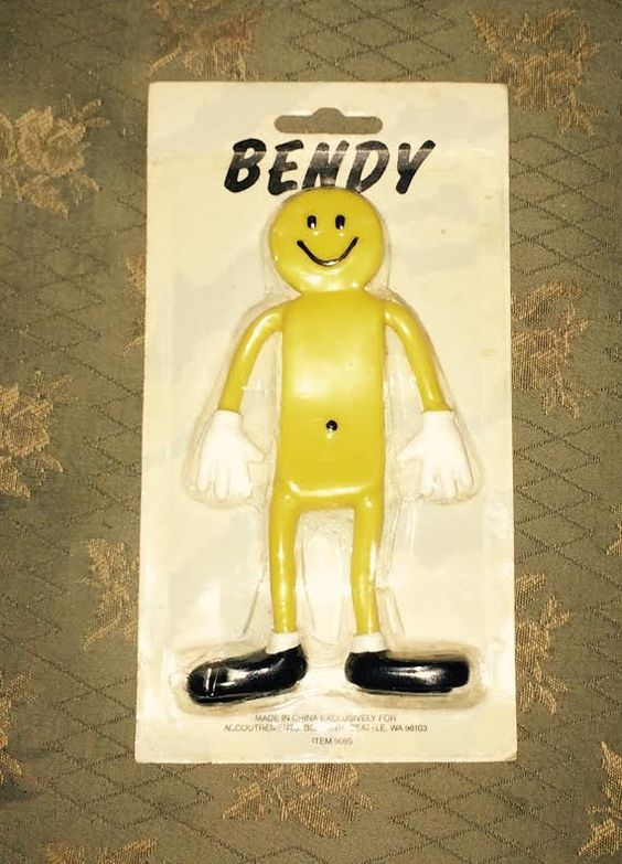 Smiley Happy Face Yellow Sunshine Bendy Man Toy Doll by onlysixes