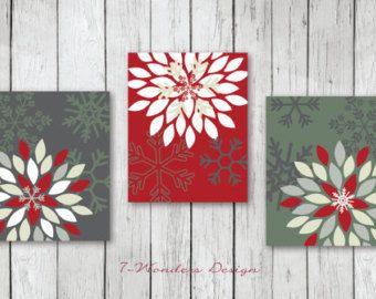 """Christmas Art Print Set, Christmas Wall Art // Flower Bursts and Snowflakes // Christmas Holiday Art Prints // Set of (3) 5""""x7"""" or 8""""x10"""""""