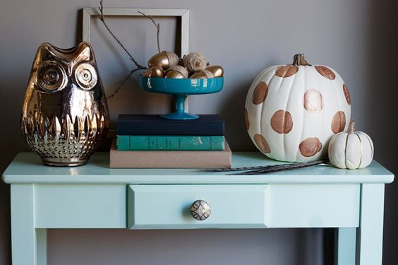 fall-table with painted pumpkin #Anthropologie #PinToWin