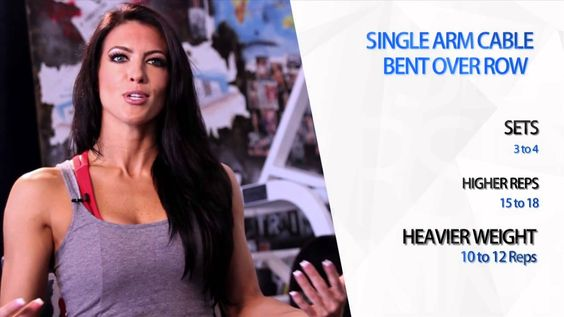 Single Arm Cable Bent Over Row - Amanda Latona Turning Heads S1 EP11 She works her lats to get width and make her waist appear smaller :)
