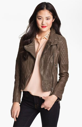 Mackage Quilt Trim Leather Moto Jacket available at Nordstrom